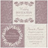Baroque wedding invitation set, pink