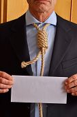 foto of hangman  - Hangman holding a white chart and letter message - JPG