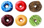 Delicious donuts collage, isolated on white