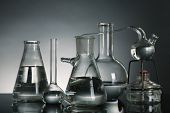 Fixed laboratory glassware on dark  background
