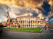 Evening Colosseum is one of Rome's most popular tourist attractions, Italy