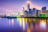 Guangzhou, China cityscape over the Pearl River.