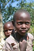 Two Black African Tribe Maasai Children, Siblings.
