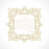 image of monogram  - floral frame in monogram line style with space for text - JPG