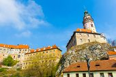 Famous round tower in historical city of Cesky Krumlov (Unesco Heritage), Czech Republic