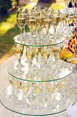 pyramid of champagne glasses during catering at party