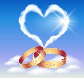 Card With Wedding Rings And Heart