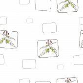 Seamless patterns with vegetative elements. Vector illustration.