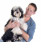 Man And  Tibetan Terrier