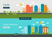 ������, ������: Flat design modern vector illustration icons set of urban landscape and city life