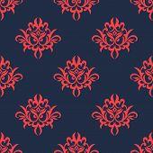 Vintage red on blue foliage pattern