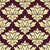 Seamless beige densely floral pattern on violet background