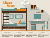 Living room flat interior design infographic