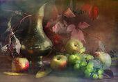 Grapes, Apples And Beautiful Jug