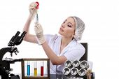 Beautiful Woman Scientist In The Lab Perform Various Operations