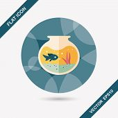 picture of long-fish  - Pet Fish Bowl Flat Icon With Long Shadow - JPG