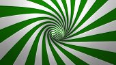 stock photo of hypnotic  - Hypnotic spiral or swirl making green and white background in 3D - JPG