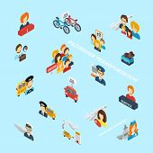 Passenger Transportation Isometric Icons