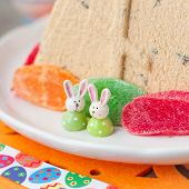 Easter Bunnies On The Plate With Curd Pashka