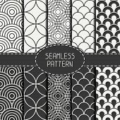 foto of pattern  - Set of fashion geometri seamless pattern with circles - JPG
