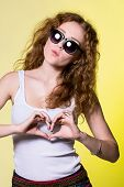 Playful Beautiful Young Woman With Sunglasses
