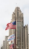 Flags Blowing By Old Chicago Tower