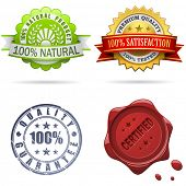 Quality labels and seals set isolated on white.