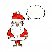 cartoon grumpy santa claus with thought bubble