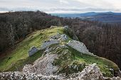 Ruins Of The Castle Hrusov In Deciduous Forest And Surrounding Countryside