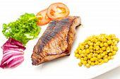 Pan Fried Steak, Green Peas And Vegetables