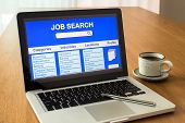 Laptop Shows User Interface Of Online Job Search