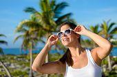 Happy Brunette Woman On Tropical Caribbean Travel
