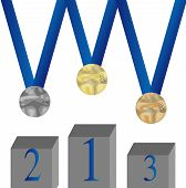Set Of Medal. Pedestal