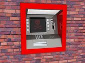 View of ATM in an isolated white background