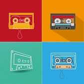 Audio tape. Flat design vector illustration on red background.
