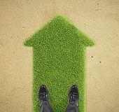 Man Standing On Grass  Arrow