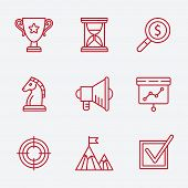 Flat line icons set of small business planning development