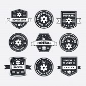 Set Of Football Or Soccer Emblems, Labels And Badges