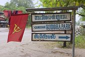 Sign of the Buddha park entrance at the road side in Vientiane, Laos.