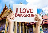 I Love Bangkok card with temple background