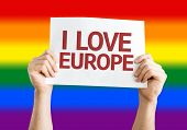 I Love Europe card with LGBT flag background
