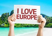 I Love Europe card with beach background