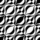 Seamless Curved Shape Pattern. Vector Monochrome Background
