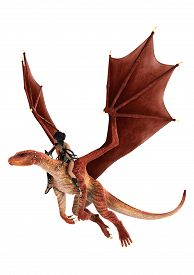 picture of dragon  - 3D digital render of a beautiful dragon lady flying on a red dragon isolated on white background - JPG
