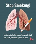 Постер, плакат: Lungs and smoking stop smoking