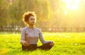 African American Woman Meditating In Nature poster