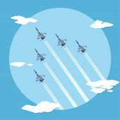 picture of fighter plane  - picture of five fighter planes flying combat order flat style illustration - JPG