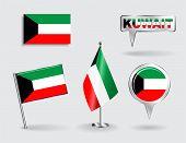 stock photo of kuwait  - Set of Kuwait pin - JPG