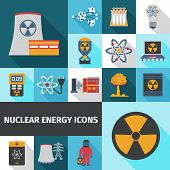 stock photo of nuclear bomb  - Nuclear energy contribution in global electricity supply flat icons set with radioactivity sign abstract isolated vector illustration - JPG
