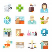 picture of veterinary  - Pharmacy and veterinary chemist shop flat icons set with pills and herbs mortar abstract  isolated vector illustration - JPG